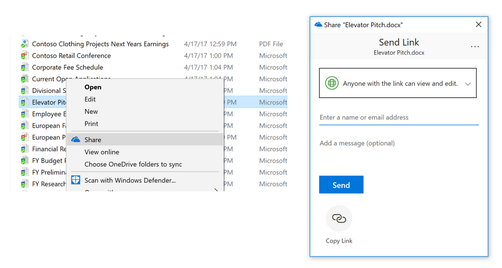 OneDrive Share from File Explorer